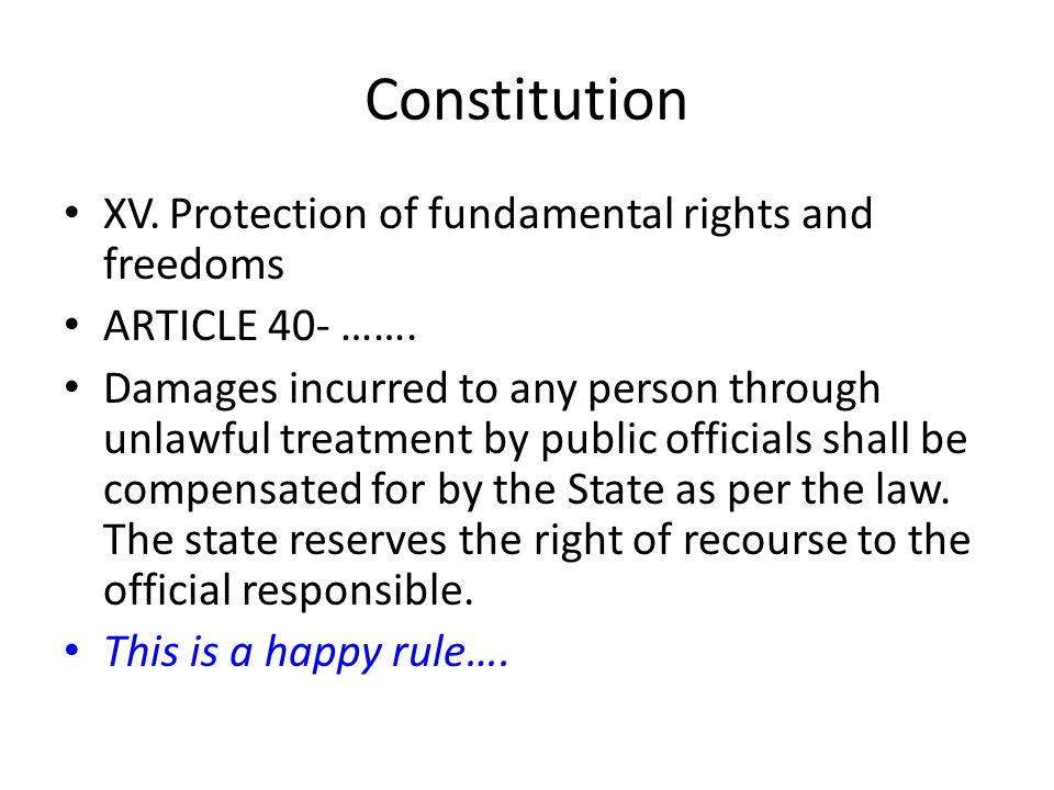 Constitution XV. Protection of fundamental rights and freedoms