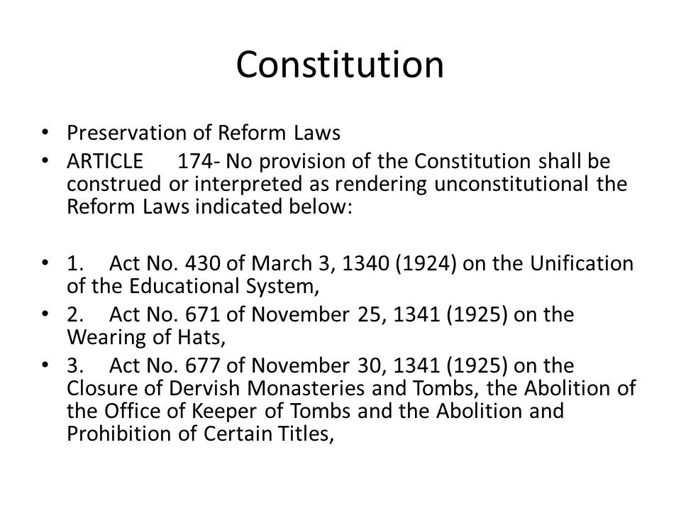 Constitution Preservation of Reform Laws