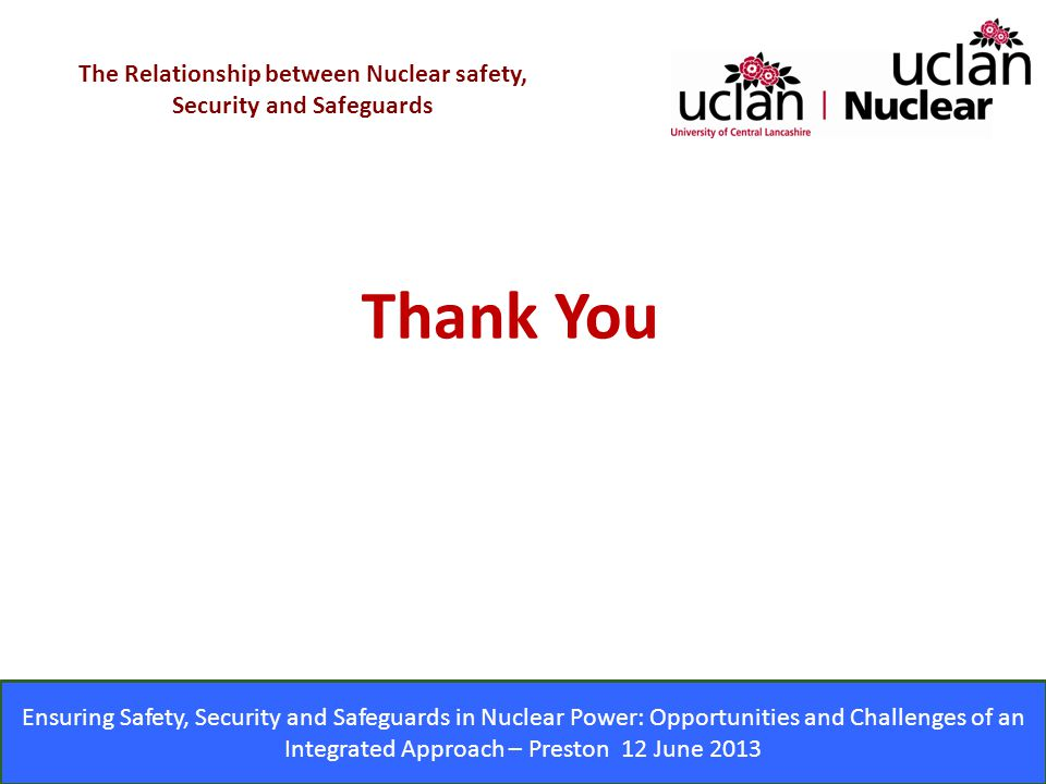 The Relationship between Nuclear safety, Security and Safeguards