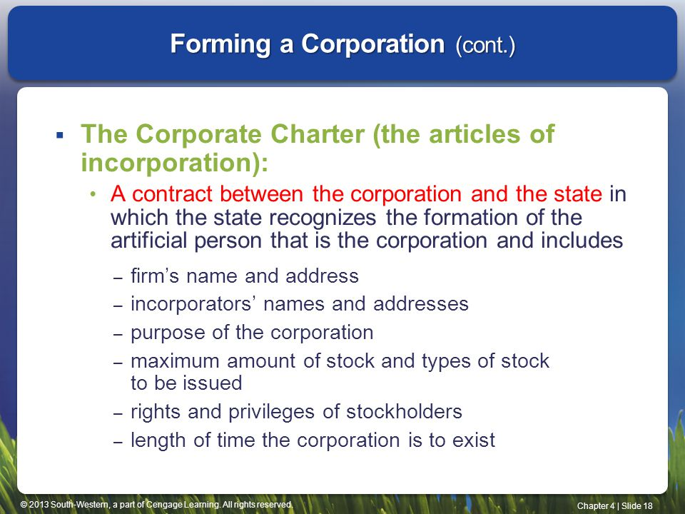 Forming a Corporation (cont.)