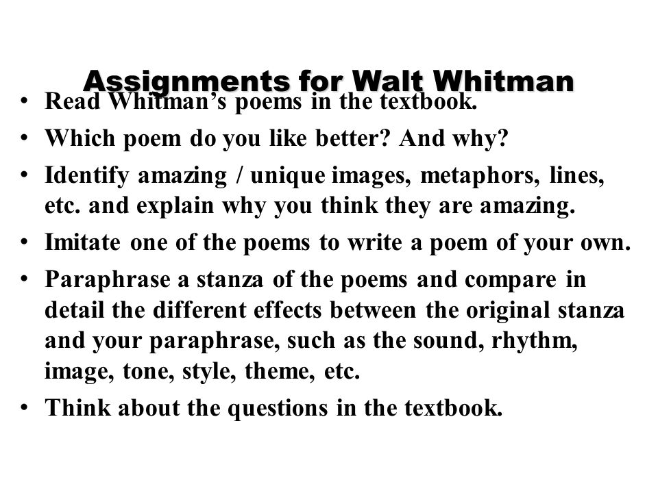 Assignments for Walt Whitman