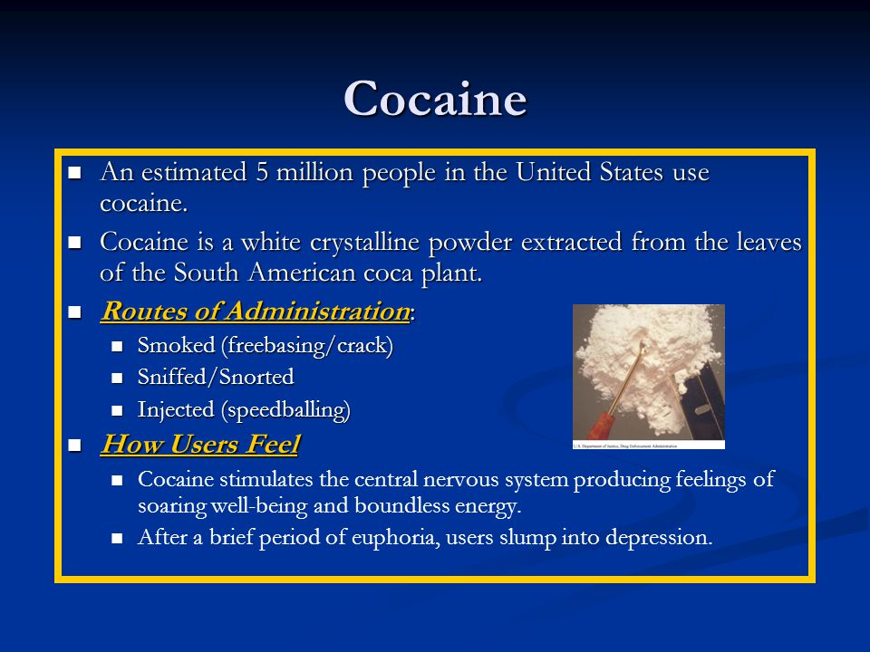 Cocaine An estimated 5 million people in the United States use cocaine.