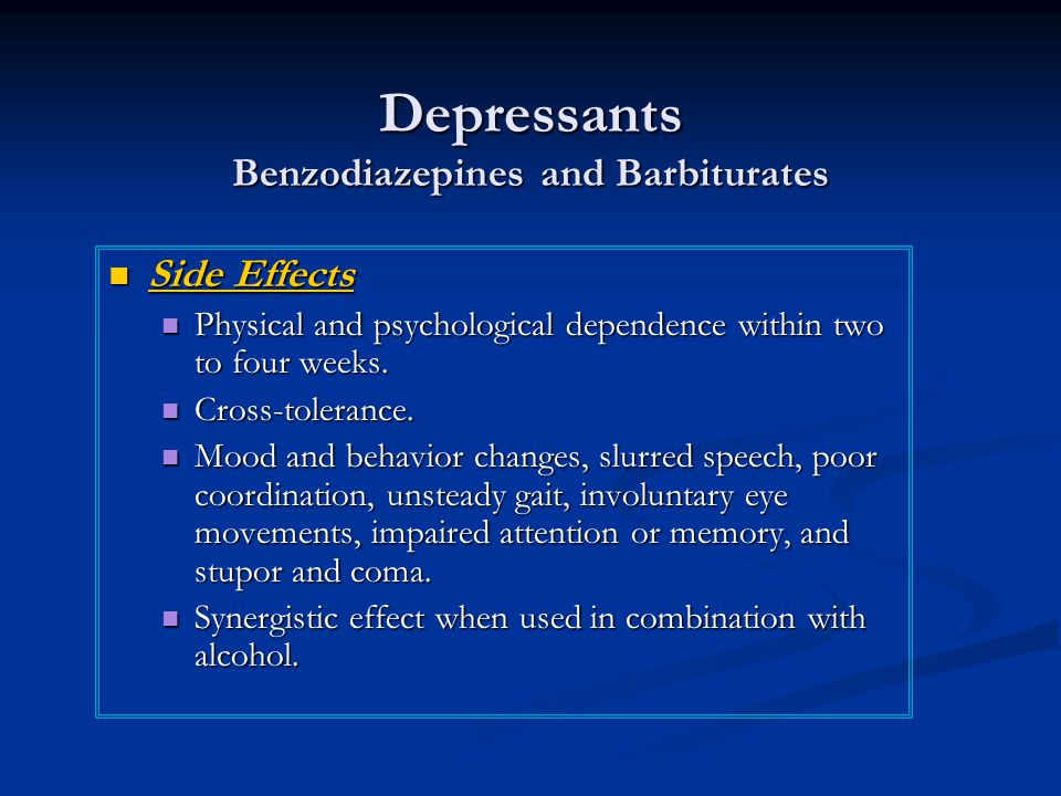 Depressants Benzodiazepines and Barbiturates