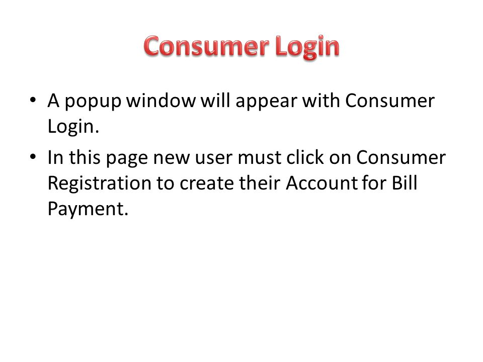 Consumer Login A popup window will appear with Consumer Login.