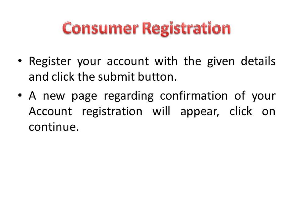 Consumer Registration