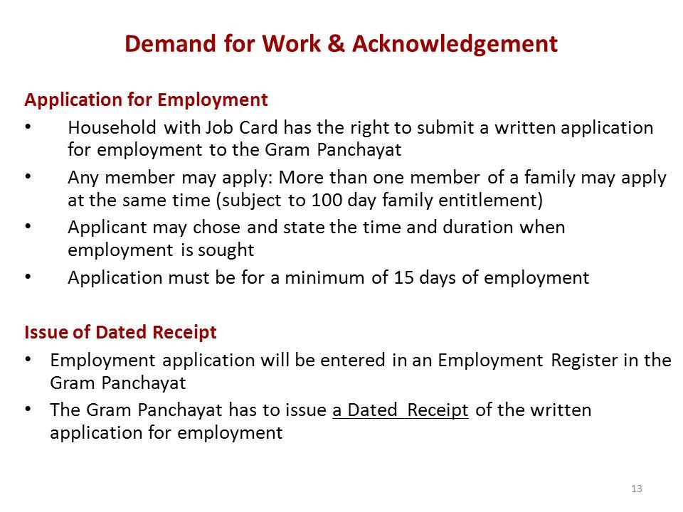Demand for Work & Acknowledgement