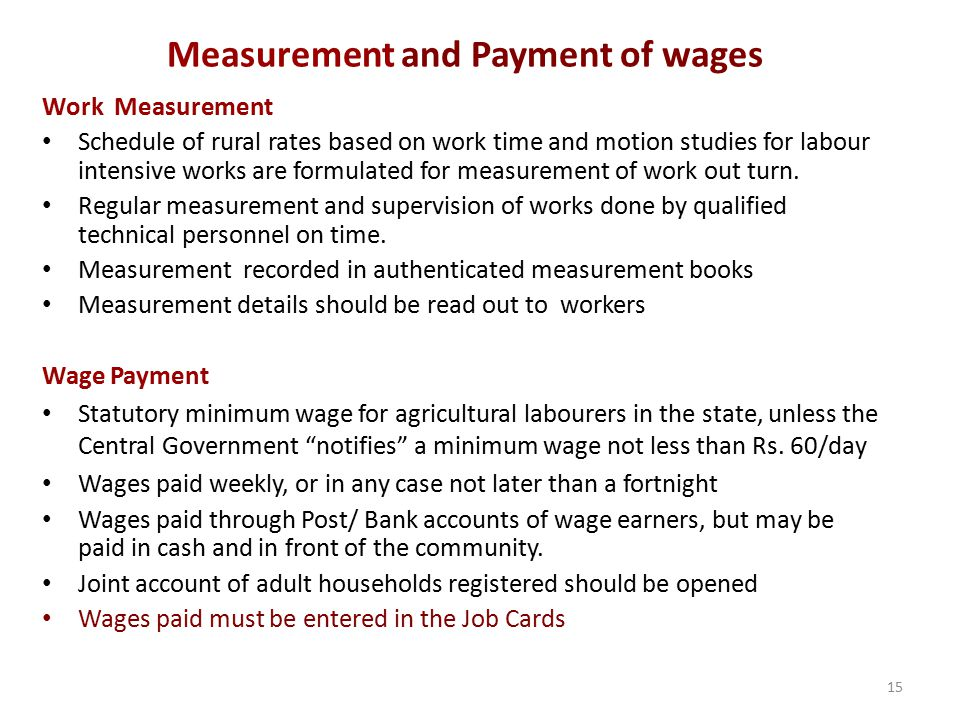 Measurement and Payment of wages