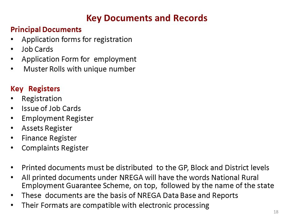 Key Documents and Records