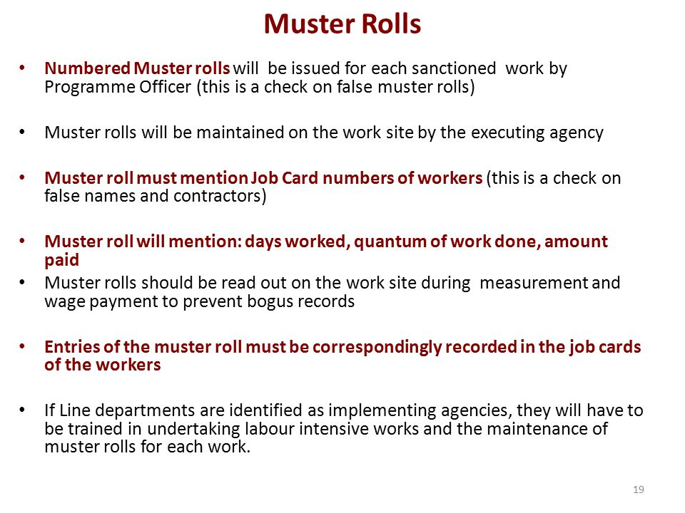 Muster Rolls Numbered Muster rolls will be issued for each sanctioned work by Programme Officer (this is a check on false muster rolls)