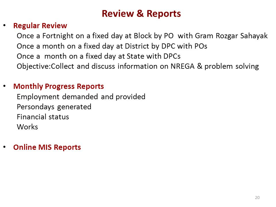 Review & Reports Regular Review