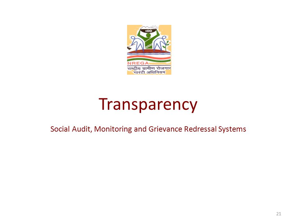 Transparency Social Audit, Monitoring and Grievance Redressal Systems