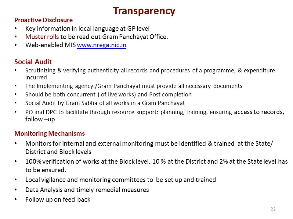 Transparency Social Audit Proactive Disclosure