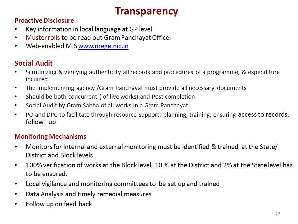Transparency Social Audit Proactive Disclosure