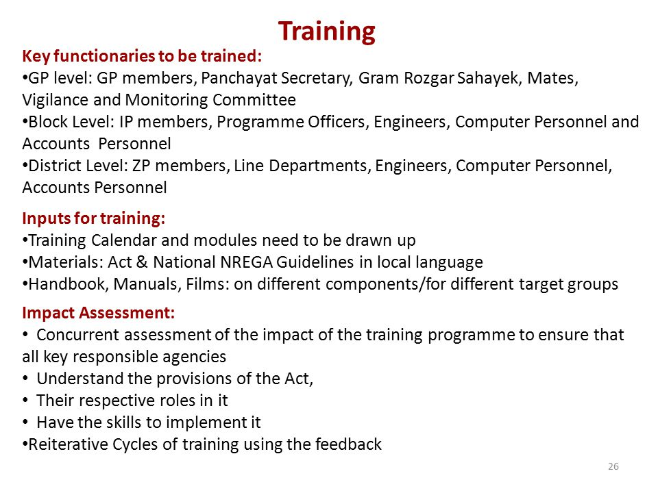 Training Key functionaries to be trained: