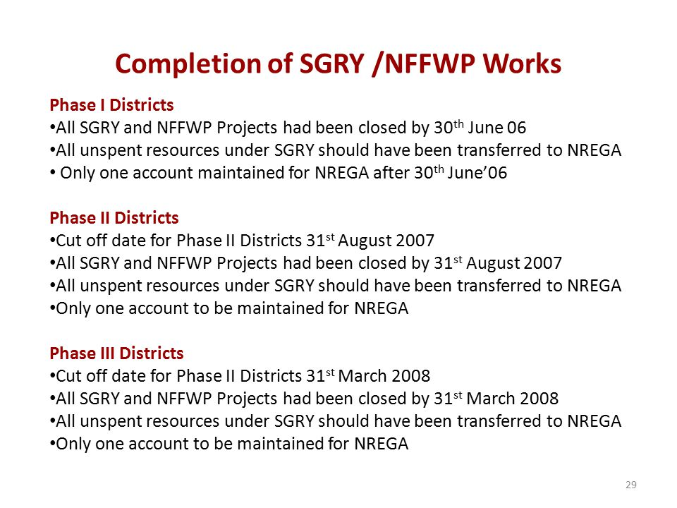 Completion of SGRY /NFFWP Works