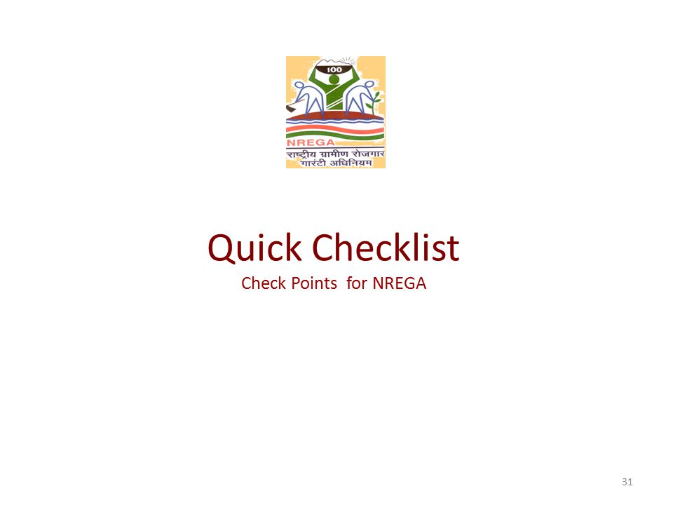 Quick Checklist Check Points for NREGA