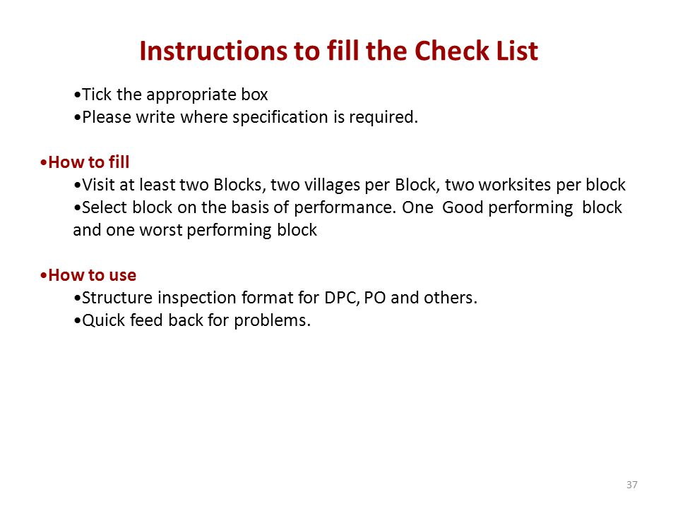 Instructions to fill the Check List