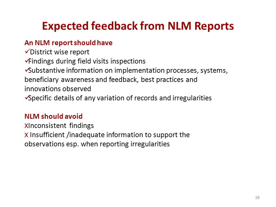 Expected feedback from NLM Reports