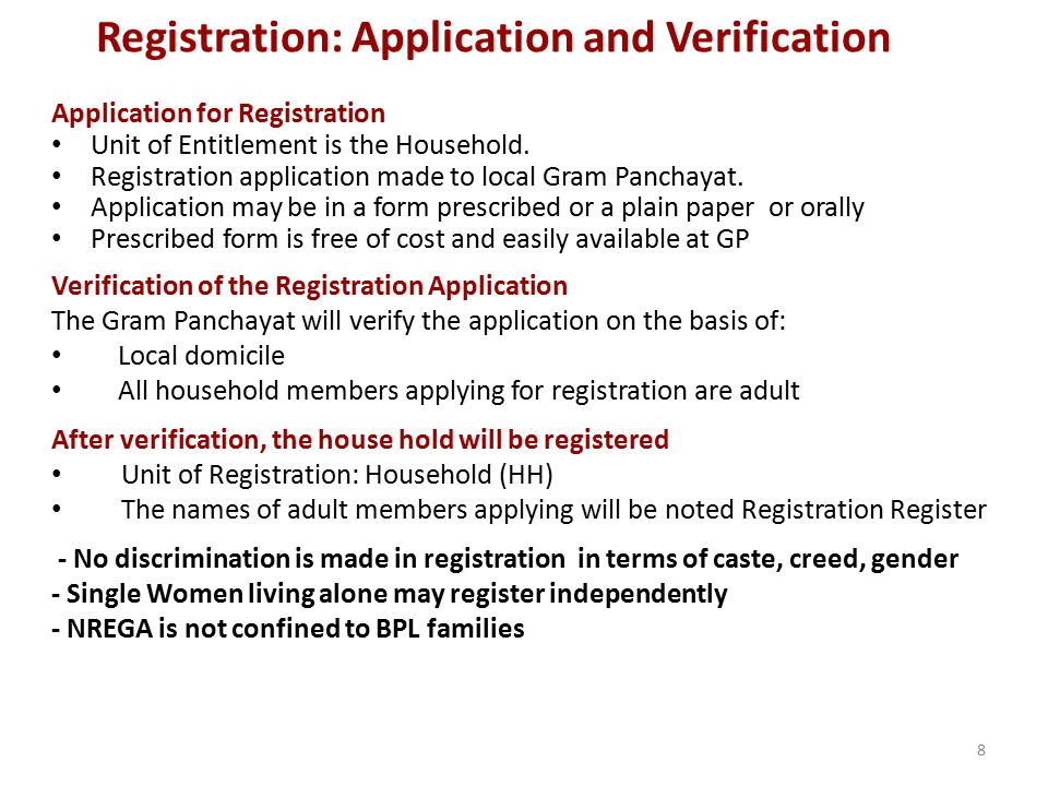 Registration: Application and Verification