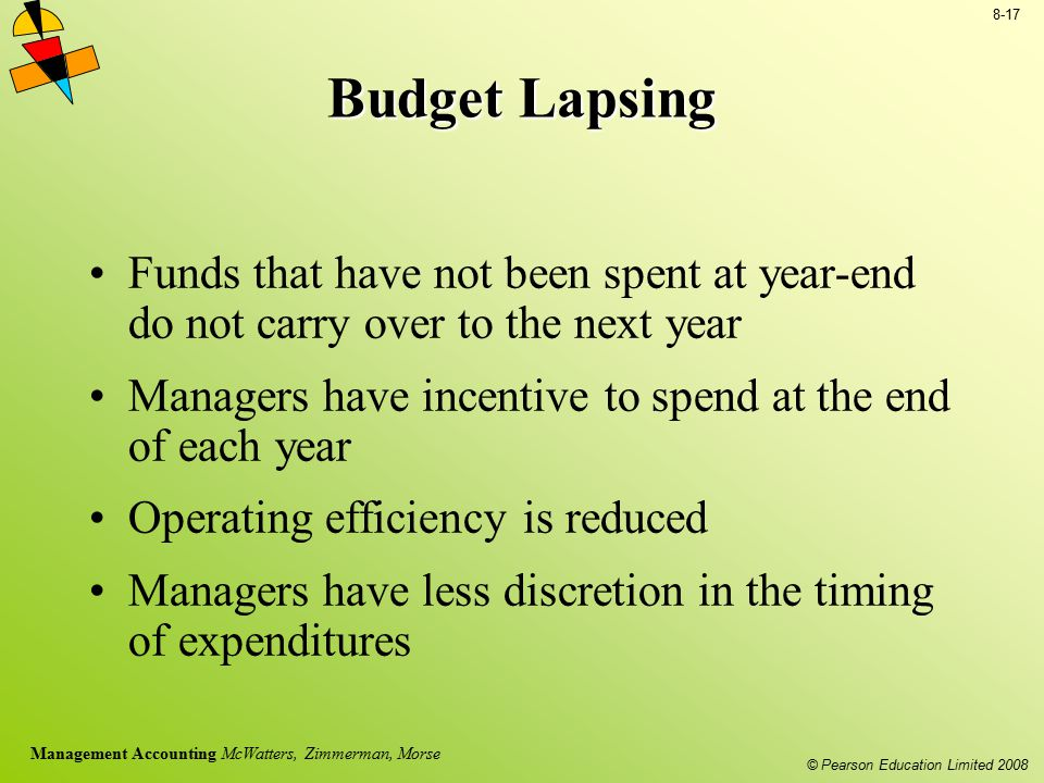 Budget Lapsing Funds that have not been spent at year-end do not carry over to the next year.