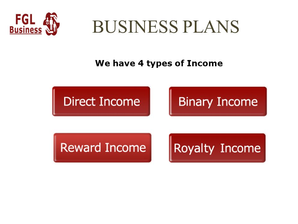 BUSINESS PLANS We have 4 types of Income