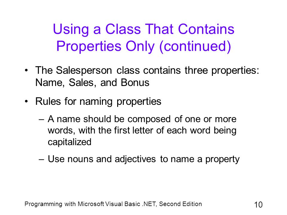 Using a Class That Contains Properties Only (continued)