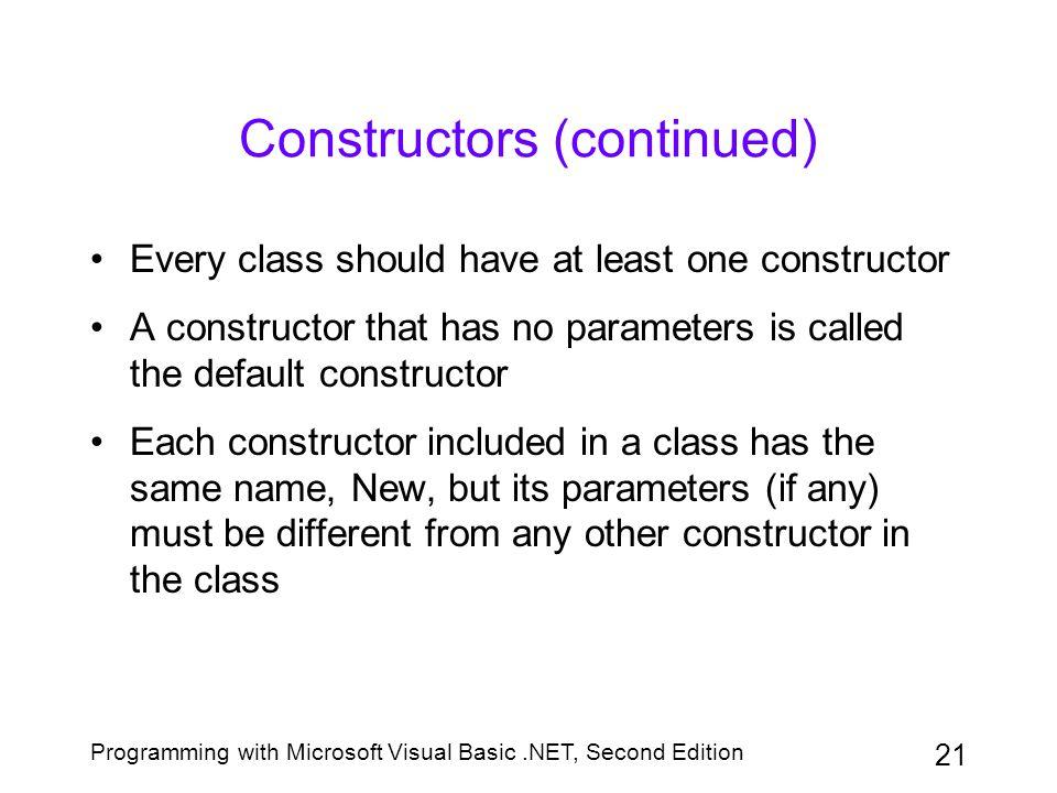 Constructors (continued)
