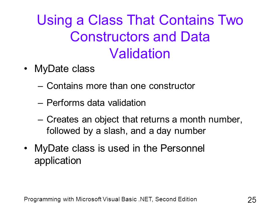 Using a Class That Contains Two Constructors and Data Validation