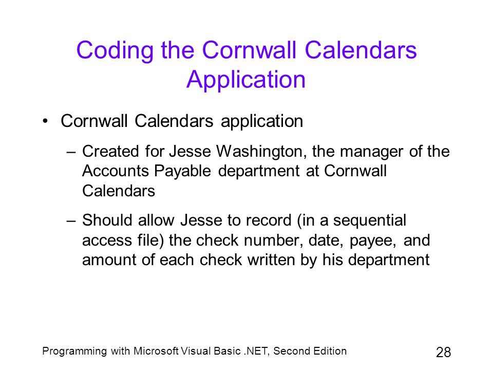 Coding the Cornwall Calendars Application