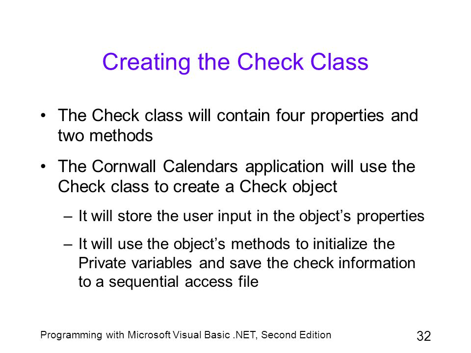 Creating the Check Class