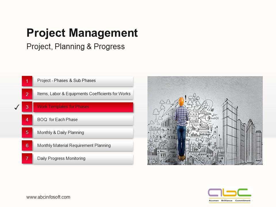 Project Management Project, Planning & Progress ✓ 1 2 3 4 5 6 7