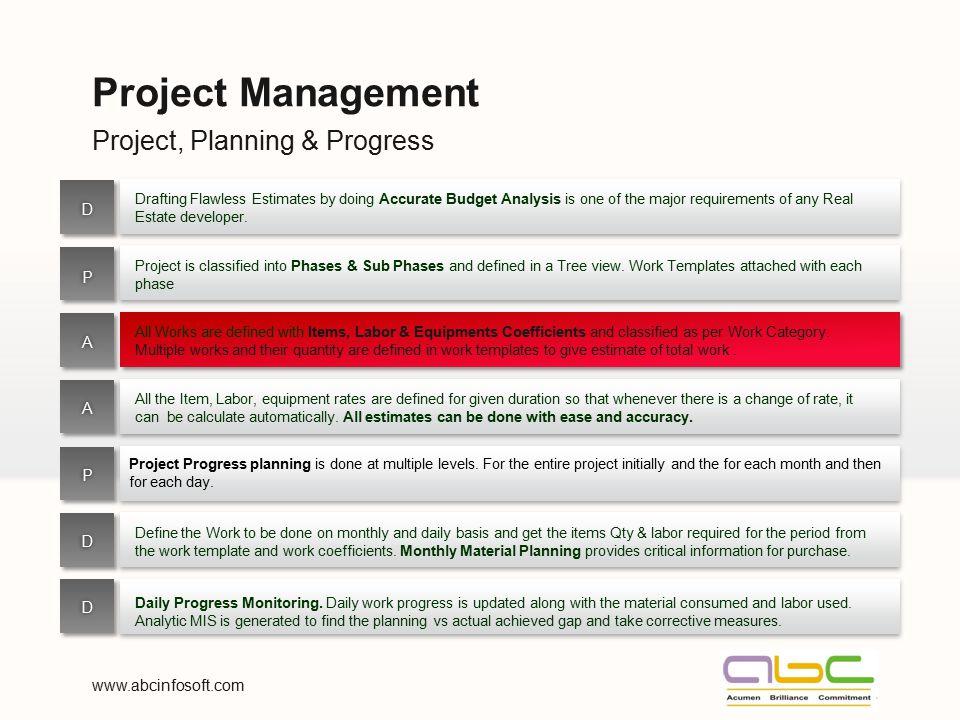 Project Management Project, Planning & Progress D P A A P D D
