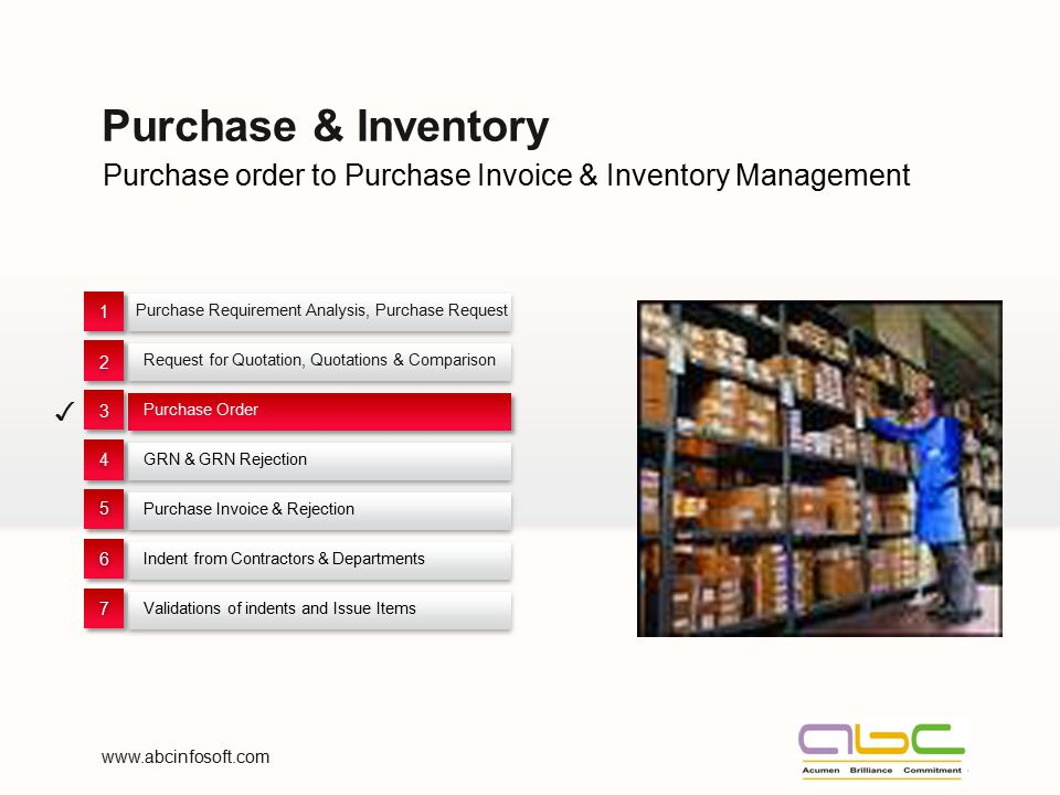 Purchase & Inventory Purchase order to Purchase Invoice & Inventory Management. Purchase Requirement Analysis, Purchase Request.