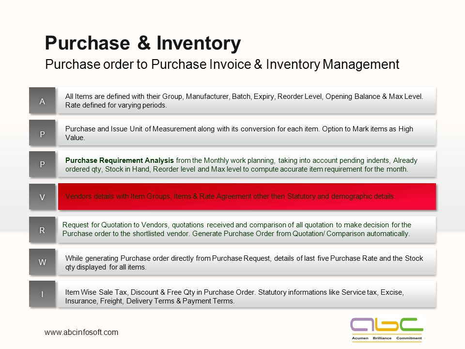 Purchase & Inventory Purchase order to Purchase Invoice & Inventory Management.