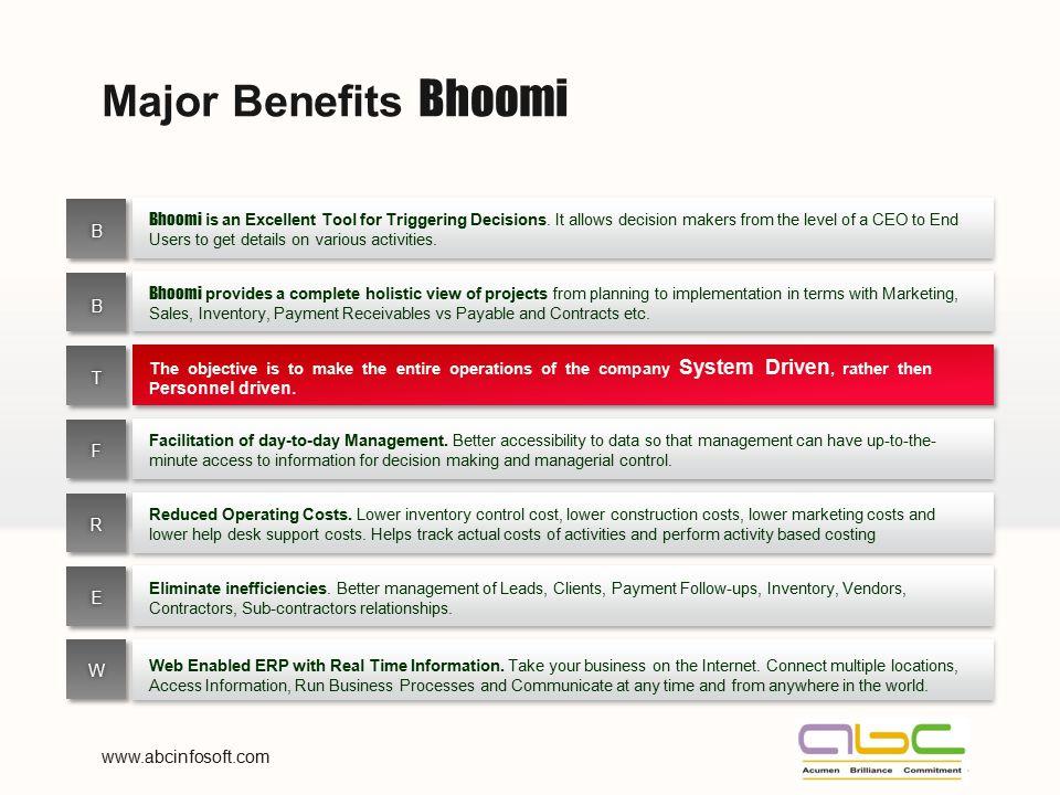 Major Benefits Bhoomi B B T F R E W www.abcinfosoft.com