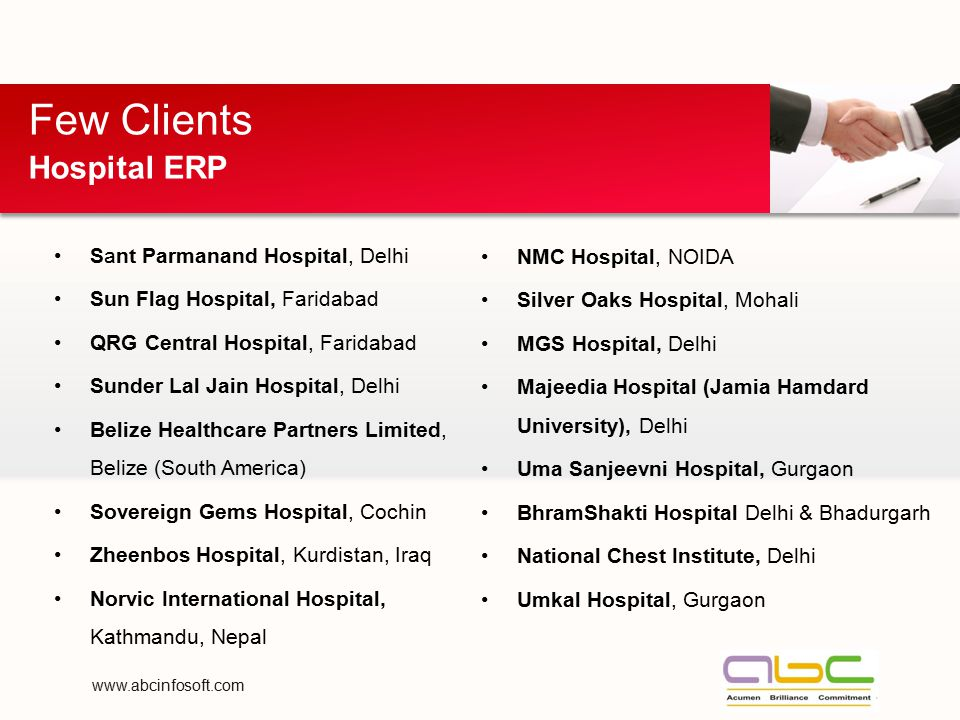 Few Clients Hospital ERP Sant Parmanand Hospital, Delhi