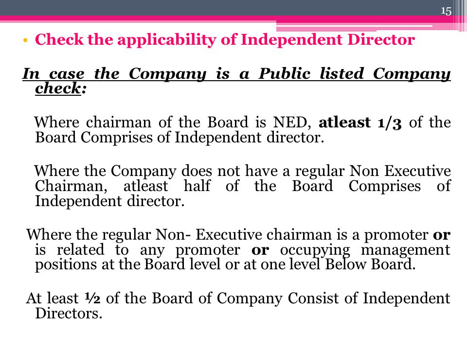 Check the applicability of Independent Director