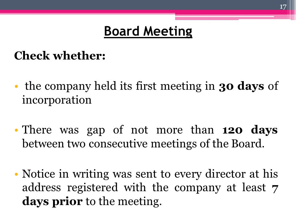 Board Meeting Check whether: