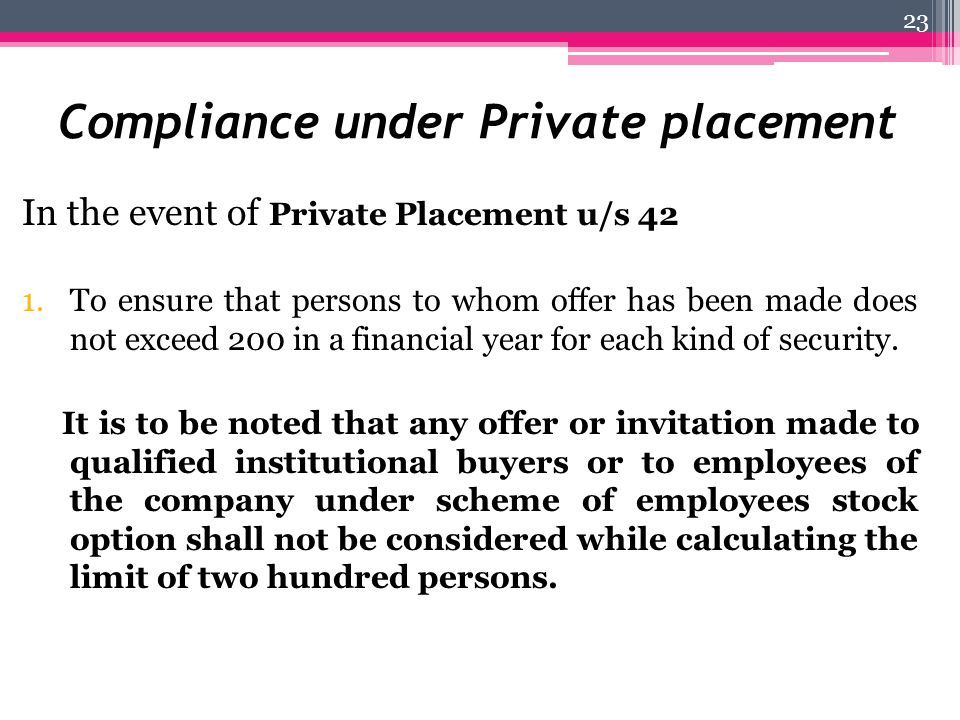 Compliance under Private placement