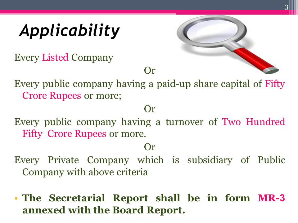 Applicability Every Listed Company Or
