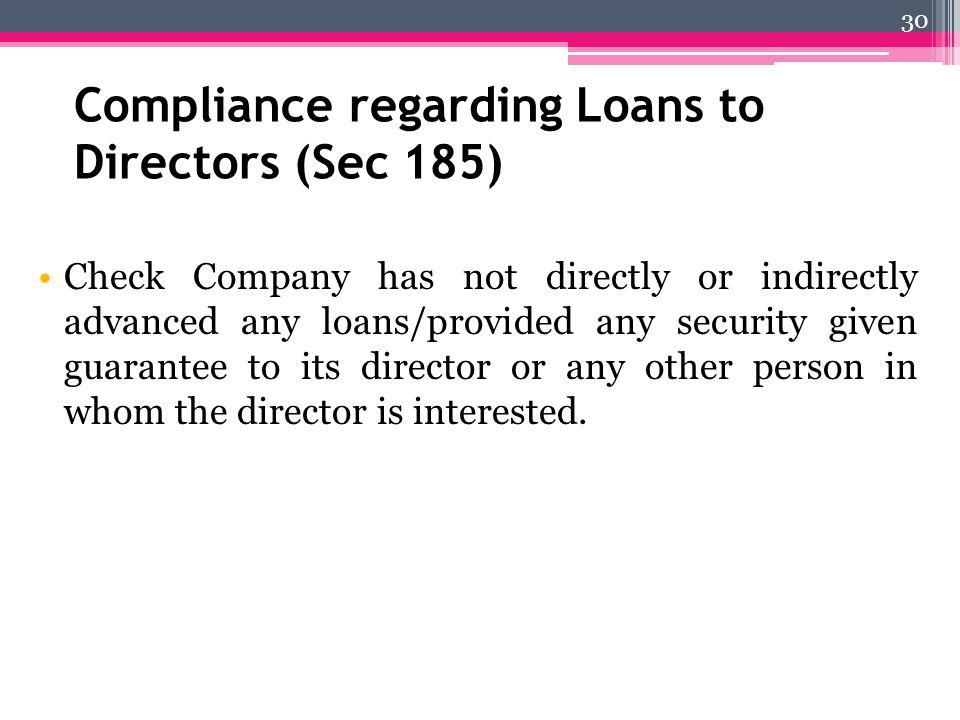 Compliance regarding Loans to Directors (Sec 185)