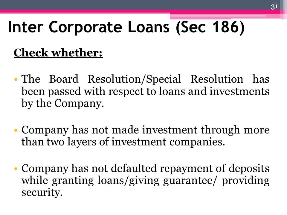 Inter Corporate Loans (Sec 186)