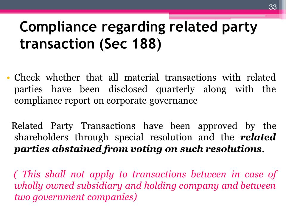 Compliance regarding related party transaction (Sec 188)