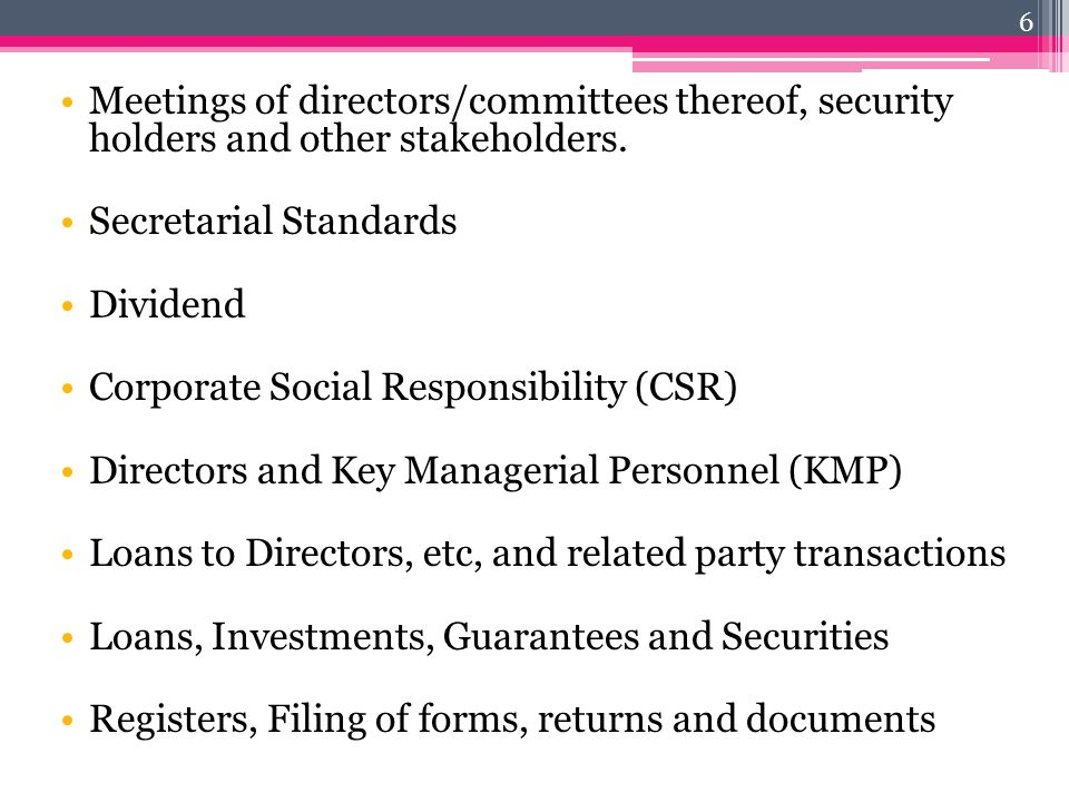 Meetings of directors/committees thereof, security holders and other stakeholders.