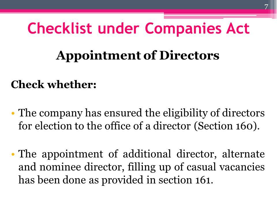 Checklist under Companies Act