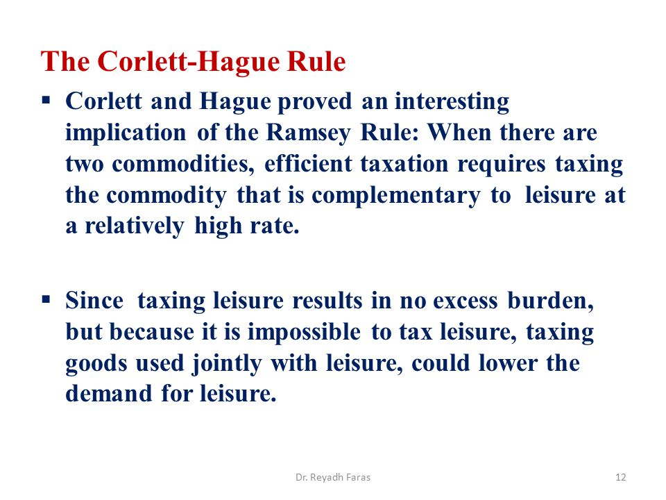 The Corlett-Hague Rule