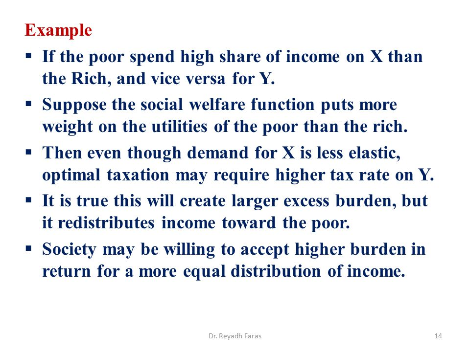 Example If the poor spend high share of income on X than the Rich, and vice versa for Y.