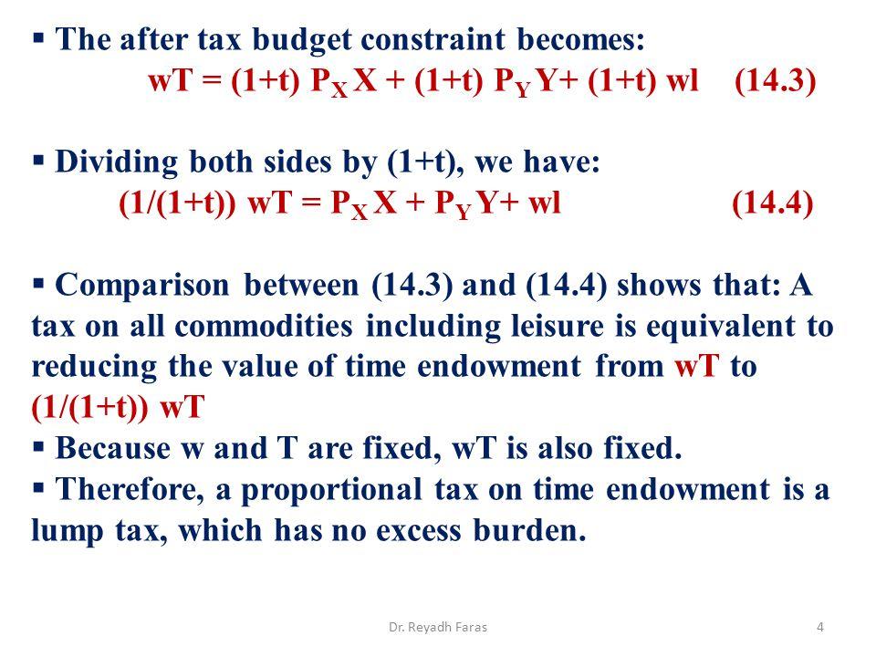 wT = (1+t) PX X + (1+t) PY Y+ (1+t) wl (14.3)