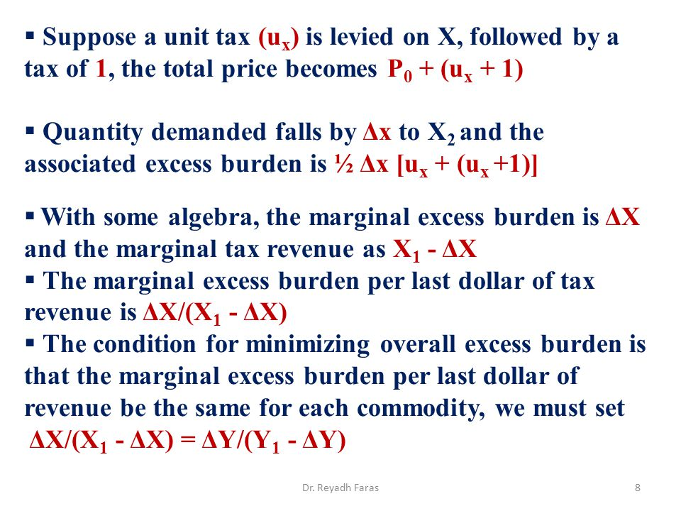 Suppose a unit tax (ux) is levied on X, followed by a tax of 1, the total price becomes P0 + (ux + 1)