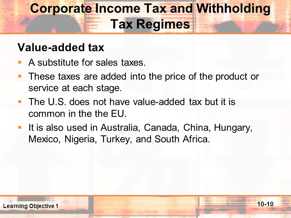 Corporate Income Tax and Withholding Tax Regimes